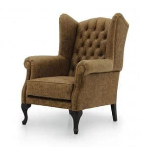 English Bespoke Upholstered Deep Buttoned Wing Chair MS9596P Custom Made-To-Order