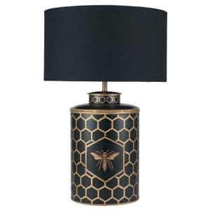 Gold Honeycomb And Bee Design Table Lamp With Black Shade MP30-480-BO