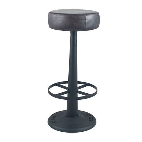 Industrial Bar Stool With Steel Black Leather Padded Seat MP15-272-SG