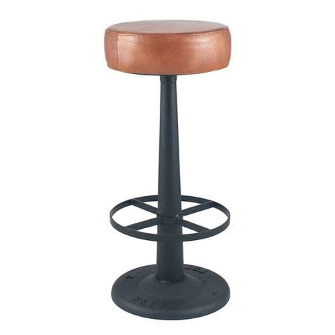 Industrial Bar Stool With Vintage Tan Leather Padded Seat MP15-272-VT