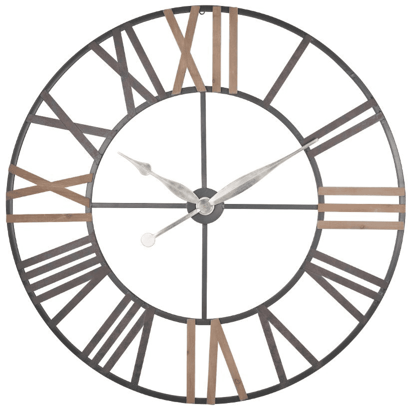 Extra Large Antique Grey Metal And Natural Wood Accent Skeleton Wall Clock MP75-185 statement clocks Millmax interiors stylish clocks