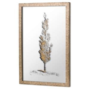 Mirrored Pine Tree Botanical Artwork With Antique Brass Frame Wall Art MH20303