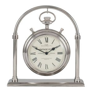 Pocket Watch Style Chrome Silver Carriage Desk Clock MP75-157
