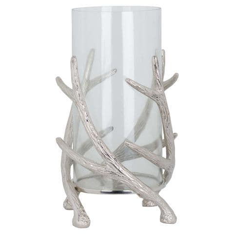 Polished Silver Stag Antler Glass  Lantern Candle Holder MH19126