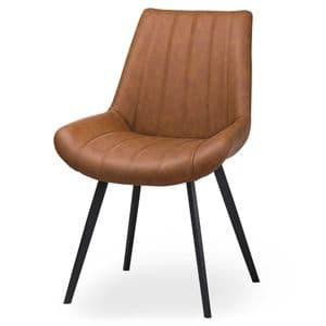 Ribbed Tan Leather Dining Chair With Black Metal Legs MH20047