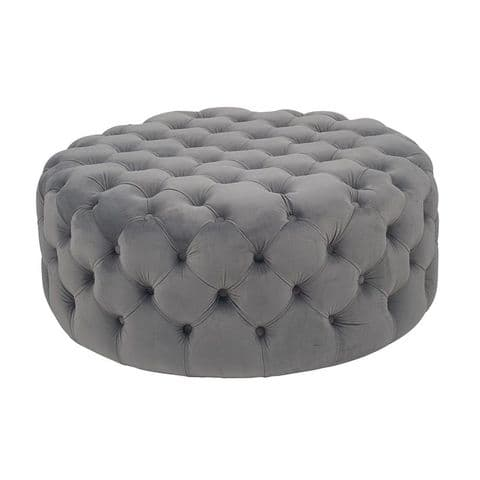 Round Grey Velvet Quilted & Buttoned Footstool Pouffe MP15-279-DG