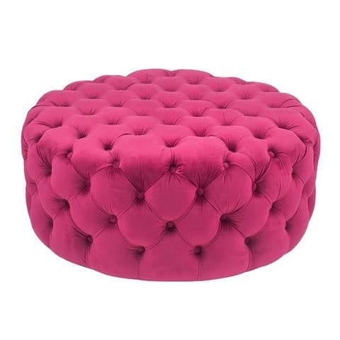 Round Raspberry Pink Velvet Quilted & Buttoned Footstool Pouffe MP15-279-RA
