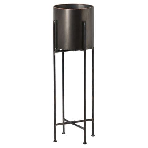 Tall Gun Metal Grey Round Vase On Floorstanding Black Metal Stand Planter MH19505