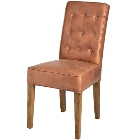 Tan Button Back Leather Dining Chair With Wooden Legs MH18334
