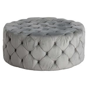 Trapuntato Grey Velvet Quilted & Buttoned Footstool Pouffe MH19348 Ready-To-Buy
