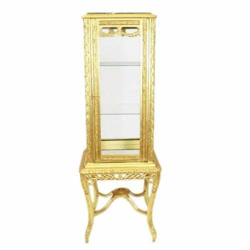 CASE BAROQUE STYLE GOLD GLASS CASE WITH MARBLE TOP #MB31