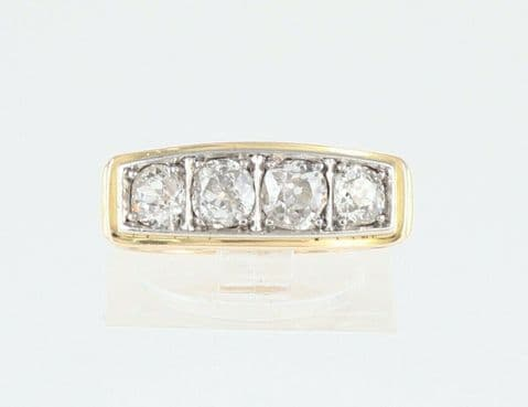 Antique Art Deco 14Ct Gold Ring And Four Stone Diamond 1.09 Carat Total
