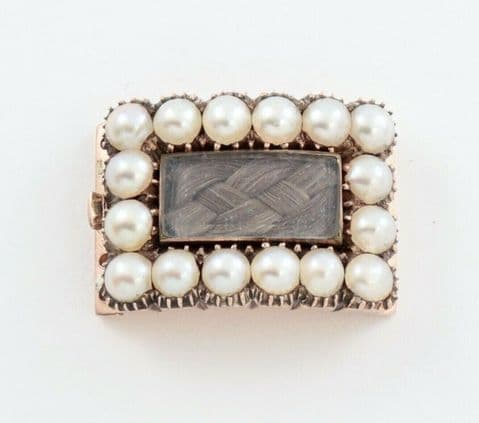 Antique Georgian 9Ct Rose Gold, Woven Hair, Pearl Clasp For Necklace / Bracelet