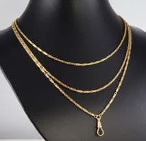 Antique Victorian 18Ct Gold Long Guard / Muff Chain Necklace   36.6grams c 1880s