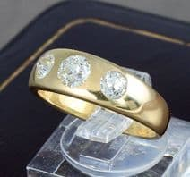 Antique Victorian 18Ct Gold Ring Gypsy Set Three Stone Diamond 0.80 Carat Total