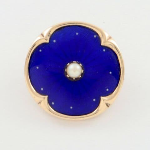 Antique Victorian 9Ct Gold Brooch With Blue Guilloche Enamel Ad Pearl