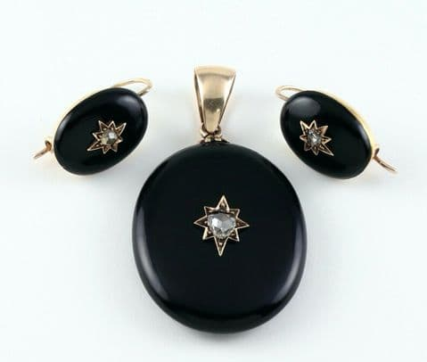 Antique Victorian 9Ct Gold, Onyx And Diamond Pendant & Earrings Set / Suite