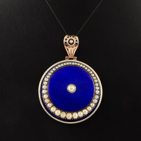 Antique Victorian Gold Pendant / Locket With Blue Guilloche Enamel And Pearls