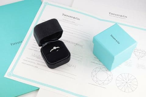 Platinum Engagement Ring Solitaire Diamond 0.23 Ct by Tiffany &Co , Certificate