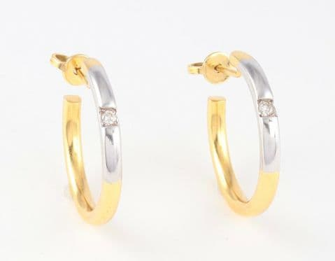 Solid 18Ct Yellow And White Gold Hoop Earrings With Diamond