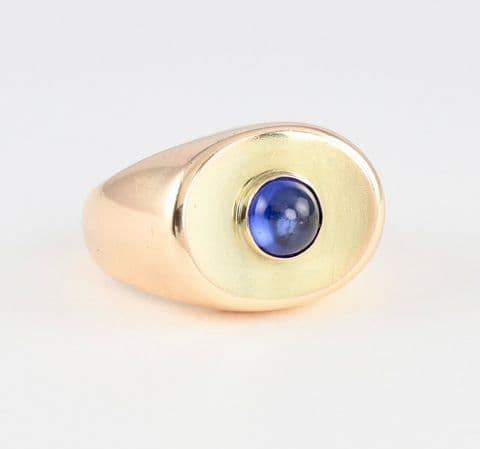 Unusual Vintage 14Ct 14K Gold & Cabochon Sapphire Ring by JUST