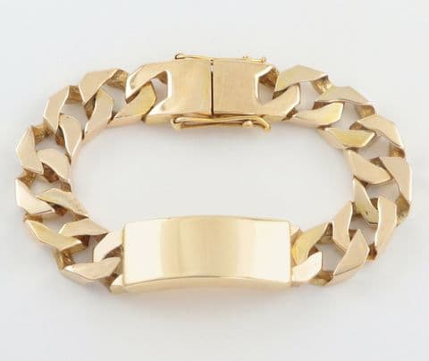 Vintage Heavy Solid 9Ct Gold Flat Curb Link Identity ID Bracelet 113.5grams