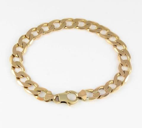 Vintage Solid 9Ct Yellow Gold Flat Curb Link Bracelet   16.9g