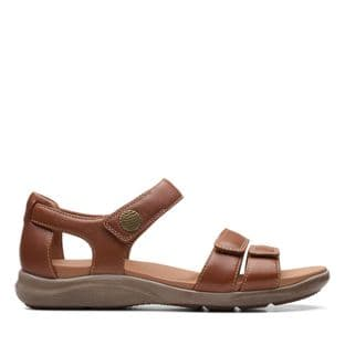 Clarks Womens Kylyn Strap Tan Leather Sandals