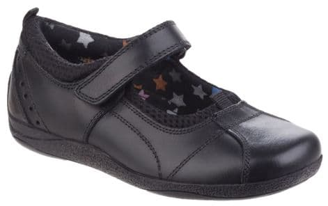 Hush Puppies Cindy Kids Black Leather Shoes