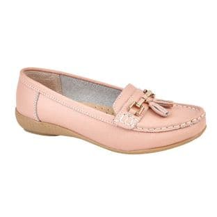 Jo & Joe Womens Nautical Baby Pink Slip On Leather Loafers Moccasin Casual Shoes