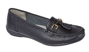 Jo & Joe Womens Nautical Black Slip On Leather Loafers Moccasin Casual Shoes