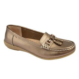 Jo & Joe Womens Nautical Bronze Slip On Leather Loafers Moccasin Casual Shoes