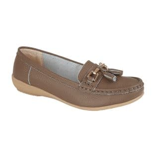 Jo & Joe Womens Nautical Coffee Slip On Leather Loafers Moccasin Casual Shoes