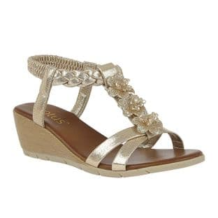 Lotus Womens Aiana Gold Wedge Sandals