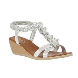 Lotus Womens Aiana Silver Wedge Sandals