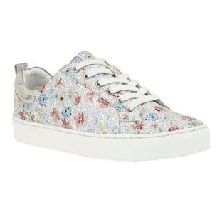 Lotus Womens Garda Multi Floral Leather Lace-Up Trainers | Stressless by Lotus