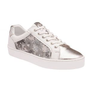 Lotus Womens Saima White Floral Leather Lace-Up Trainers | Stressless by Lotus