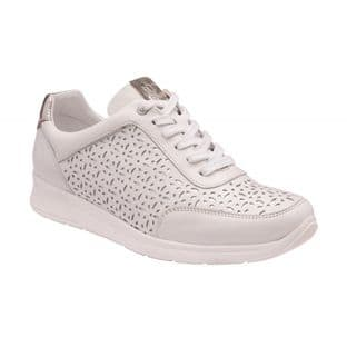 Lotus Womens Shaye White Leather Casual Lace-Up Trainers | Stressless by Lotus