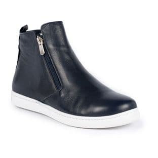 Lunar Womens Jayde Navy Blue Leather Ankle Boot