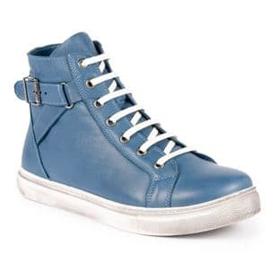 Lunar Womens Jemma Mid Blue Leather Ankle Boot