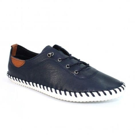 Lunar Womens St Ives Navy Leather Plimsoll Shoes