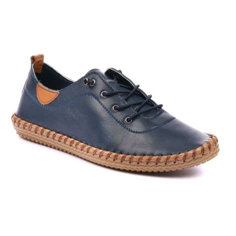 Lunar Womens Whitstable Navy Blue Leather Plimsoll Shoes