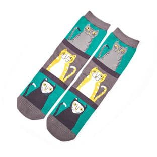 Miss Sparrow London Ladies Cats and Stripes Green Socks