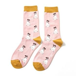 Miss Sparrow London Ladies Fox Terrier Dusky Pink Socks