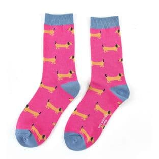 Miss Sparrow London Ladies Sausage Dogs Hot Pink Socks