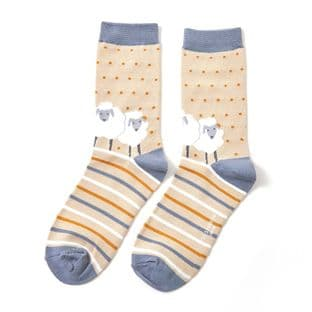 Miss Sparrow London Ladies Sheep Friends Beige Socks