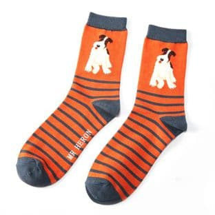 Mr Heron Mens Fox Terrier Stripes Orange Socks
