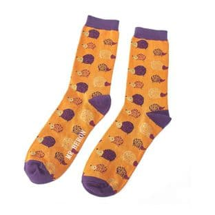 Mr Heron Mens Hedgehogs Mustard Socks
