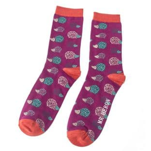 Mr Heron Mens Hedgehogs Purple Socks