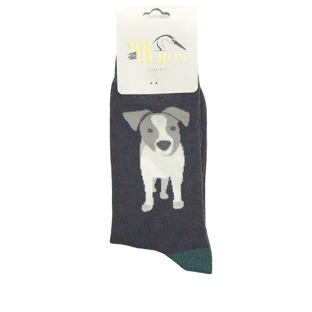 Mr Heron Mens Jack Russell Pup Grey Socks